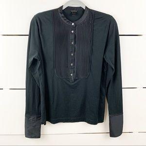 J. CREW Tuxedo Inspired Long Sleeve T-Shirt Blouse